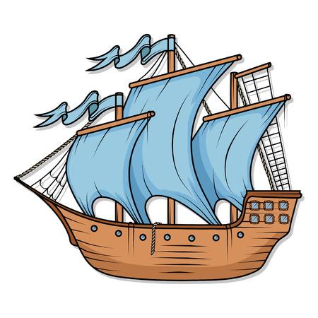 Retro Cargo Ship. Sailing ship. Sailing boat logo. Sea company logo design template. Color Ship.