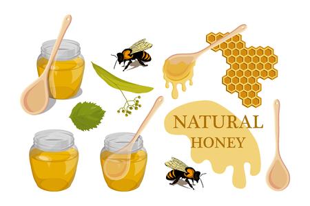 Sweet honey. 100% natural honey. Linden honey drop. Healthy nutrition.