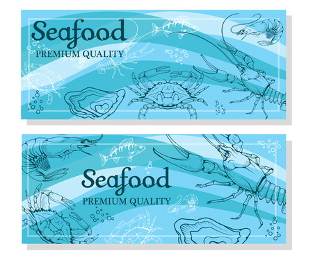 Set with seafood isolated on white background. Seafood company vector icon design template. Ocean delicacies collection vector seafood icon.