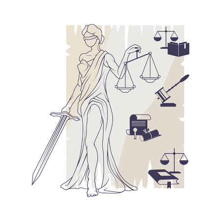 Femida -lady of justice, lady lawyer icon. Themis emblem, law and order company vector icon design template. Illustration