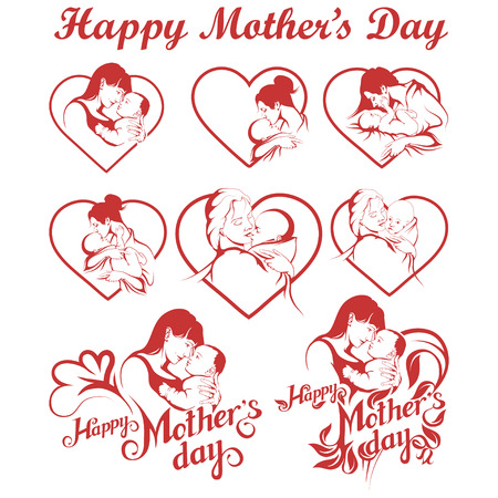 Mothers Day set. Happy Mothers day Lettering. Silhouette of a mother and her child. Mothers day greeting card. Maternal love for Her Baby.