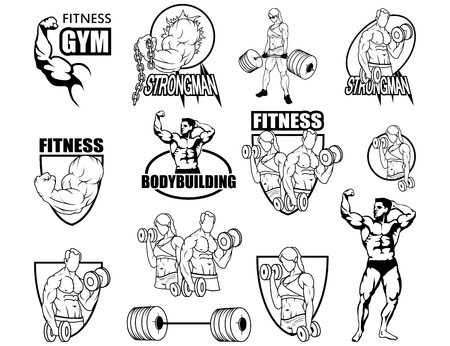 Sport set, fitness center, gym emblem. Fitness icon health center icon. Shield vector icon design template body care, body-building. Standard-Bild - 95209983