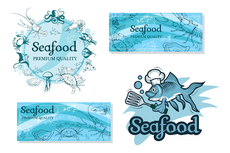 Set with seafood isolated on white background. Seafood company vector icon design template. Ocean delicacies collection vector illustration. Иллюстрация