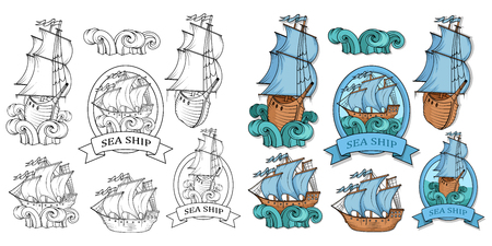 Set Of Sailing Ship. Retro Cargo Ship. Sailing ship. Sailing boat logo. Sea company logo design template. Color vector illustration. Illustration