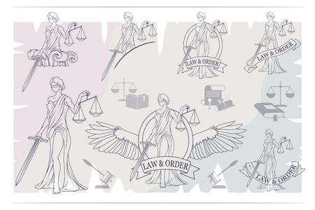 Justice Set. Femida -lady of justice. Lady Lawyer logo.