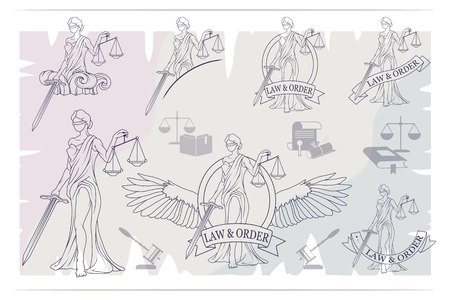 Justice Set. Femida -lady of justice. Lady Lawyer logo.