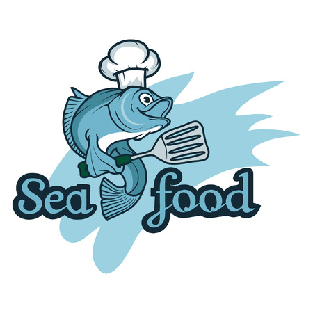Seafood. Isolated on white background. Seafood Company Vector Logo Design Template. Ocean Delicacies collection. Vector seafood logo.