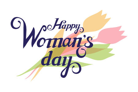 Happy Women Day Lettering. 8 March. Womens day greetings card. Beautiful young woman.