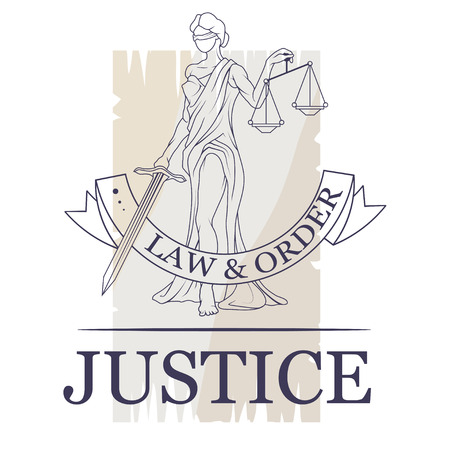 Femida -lady of justice. Lady Lawyer logo. Themis emblem. Law And Order Company Vector Logo Design Template. Stock Illustratie