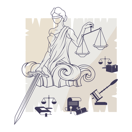Law And Order Company Vector Logo Design Template.
