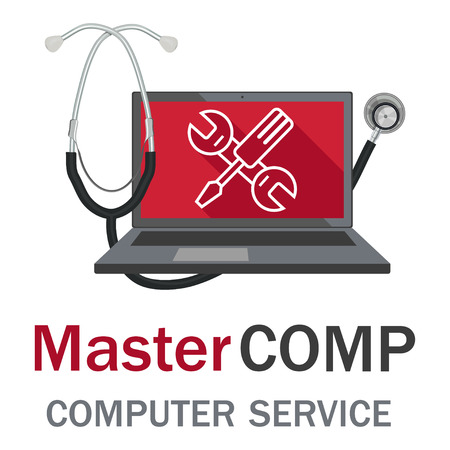 Computer repair service. Laptop with screwdriver and wrench. PC repair label. Desktop Service.