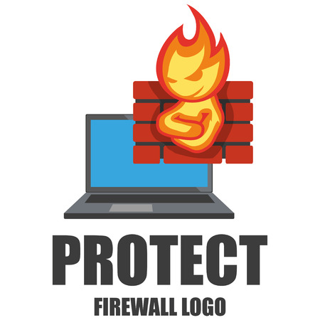 Firewall logo. Protection logo.Cyber ??security emblem. Network protection. Internet project. Logo icon design