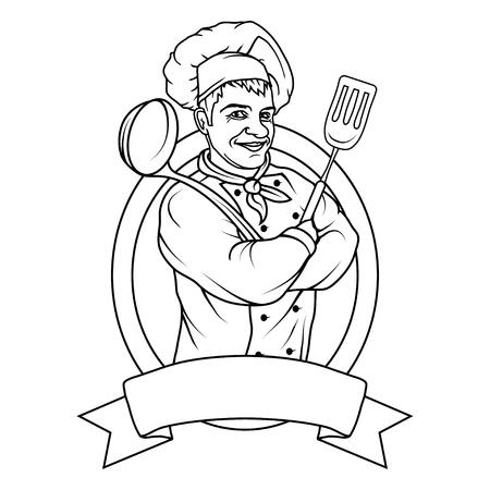 Chef in uniform. Cook logo. Chef Hat. Professional chef