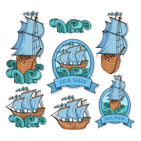 Sailing Ship. Retro Cargo Ship. Sailing ship. Sailing boat logo. Sea company logo design template. Color vector illustration Illustration