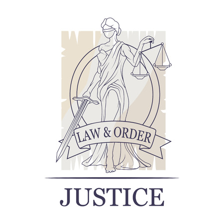 Femida -lady of justice. Lady Lawyer logo. Themis emblem. Law And Order Company Vector Logo Design Template. Иллюстрация