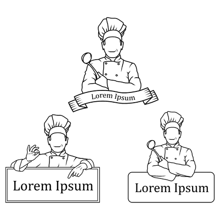 A Vector illustration of a set of Chef for Logo of a man with a chefs spoon and chef in a white uniform.