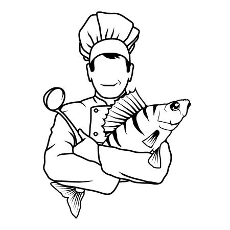 Cartoon chef with fish in hands. Isolated on white background. Vector illustration.