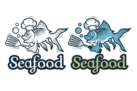 Vector seafood logo. Cartoon fish chef. Isolated on white background.