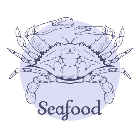 Seafood vector icon. Crab isolated on white background. Ocean delicacies collection.