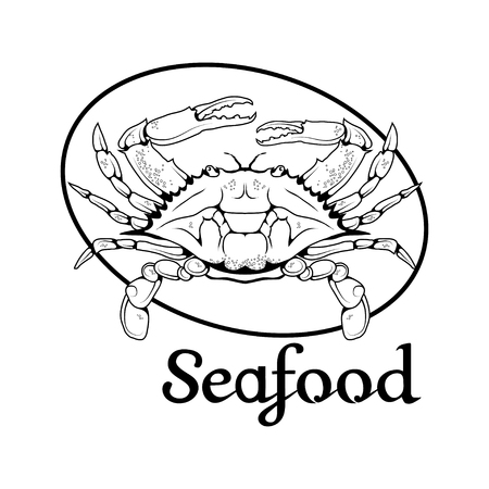 crab seafood logo vector illustration isolated on white background.