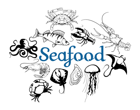 Vector seafood logo. Lobster, crab, Stingray, jellyfish, octopus, sea fish, shrimp, oyster. Isolated on white background.