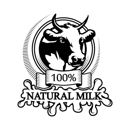 Icon of 100% natural milk, trademark with a cow head. Black silhouette of a bull professional label.