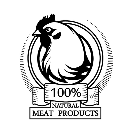 Logo 100% natural meat. Trademark with a chicken. Black silhouette of a hen. Professional label Vector illustration.
