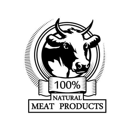 100% natural meat, trademark with a cow head. Black silhouette of a bull, professional label.