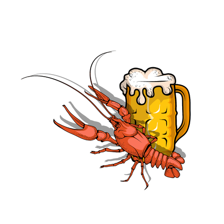 Vector illustration of beer with crayfish
