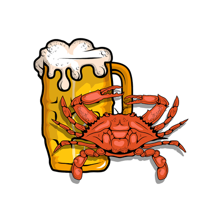 Vector illustration of beer with crab Illustration