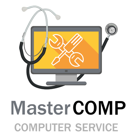 Computer repair service. Laptop with screwdriver and wrench. Vector illustration. Stock Illustratie