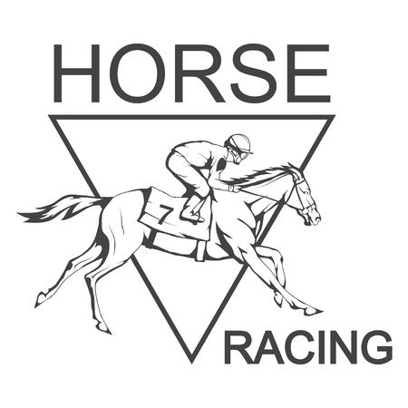 Horse racing. Jockey on racing horse running to the finish line. Vector illustration. Illustration
