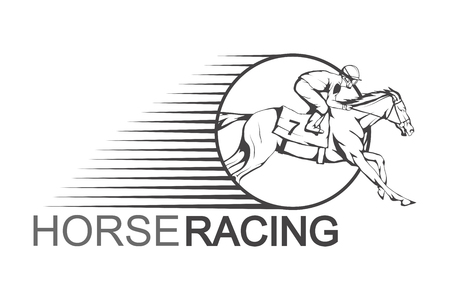 Horse racing. Jockey on racing horse running to the finish line.  Vector illustration. 일러스트