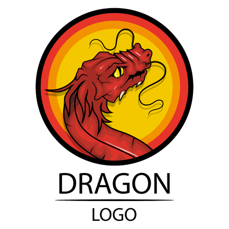 Dragon. Symbol of China. Traditional Chinese Red Dragon. Chinese dragon logo. (Chinese Translation: Dragon).