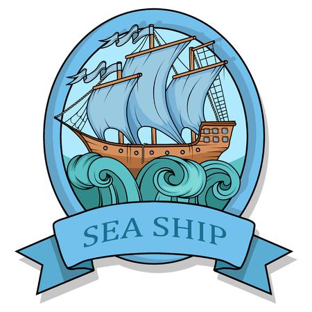 Retro Cargo Ship. Sailing ship. Sailing boat logo. Sea company logo design template.