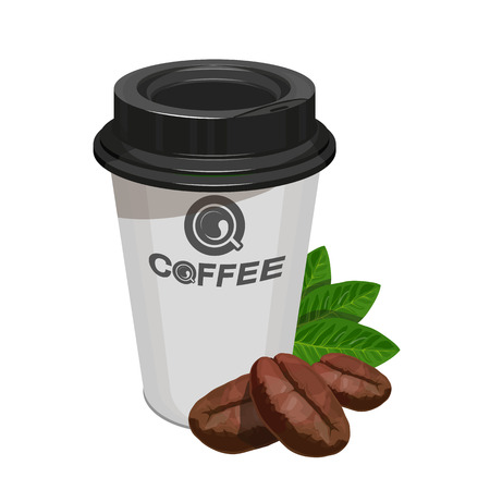 Cup of coffee. Coffee logo. Modern vector illustration for web and mobile. Coffee beans.