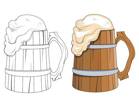 Oktoberfest  Wooden mug of beer with foam Vector illustration.