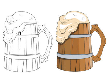 Oktoberfest  Wooden mug of beer with foam Vector illustration.