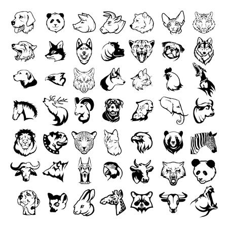 Big animal heads set including king lion, bengal tiger, howling wolf, faithful dog, domestic cat, cow, nose bull, panda, deer, grizzly bear, African giraffe, horse, bulldog.