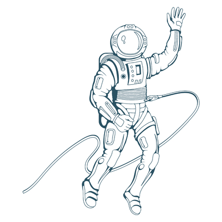 Astronaut with helmet. Space cosmonaut in spacesuit. Vector astronaut character.