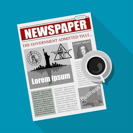 Zakelijke krant. Financiële informatie. Vector krantenmalplaatje. Grijs krantenpapier. Vector Illustratie