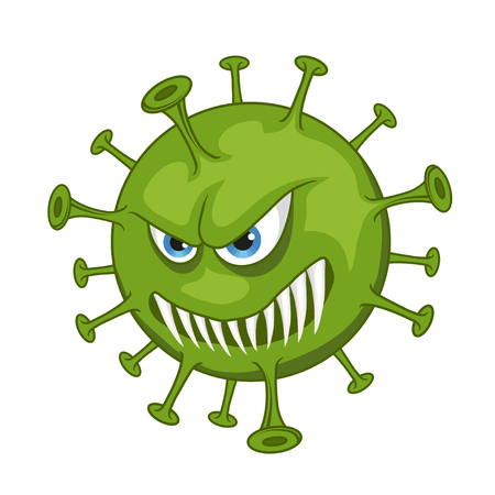 Cartoon virus. Funny micro Virus. Cartoon bacteria character. Vector virus character.