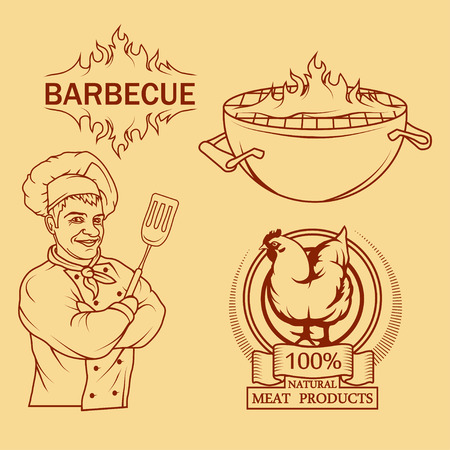 BBQ Grill. Ð¡ooking meat on fire. Barbecue Party. Bbq logo. Vectores