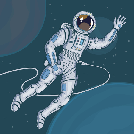 Astronaut with helmet, space cosmonaut in spacesuit vector astronaut character.