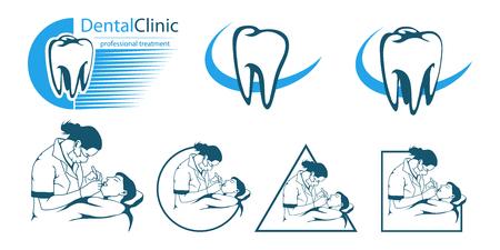 Medical set dentist in monochrome Illustration.