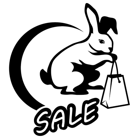 Black Friday sale with shopping bog on white background.