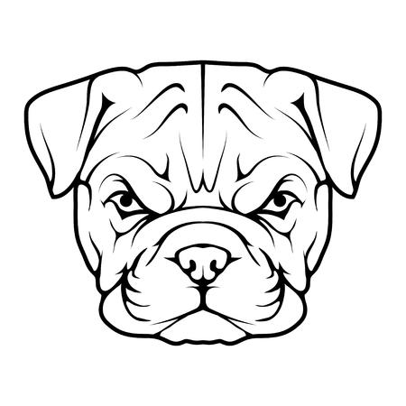 Kopf einer Bulldoggenikone.