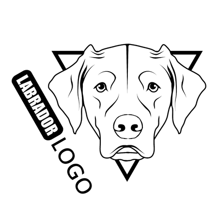 Labrador dog logo. Pet Emblem.