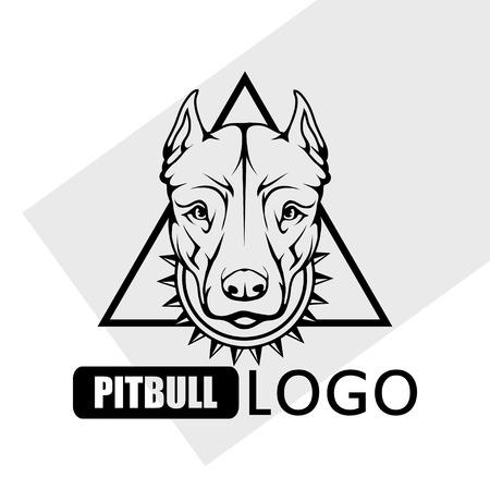 Pit bull terrier dog logo isolated on plain background.