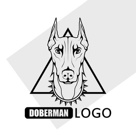 Doberman dog logo. Pet Emblem Vettoriali